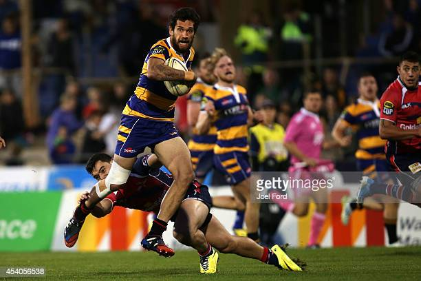 Te Rangi Fraser of the Bay of Plenty Steamers runs with the ball during the ITM Cup match between Bay of Plenty and Tasman on August 24 2014 in Mount...