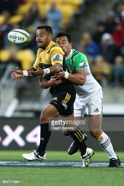 Te Toiroa Tahuriorangi of the Hurricanes is tackled during the round four Super Rugby match between the Hurricanes and the Highlanders at Westpac...