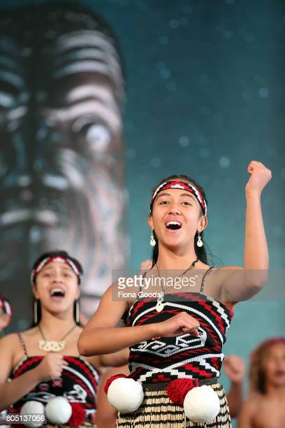 Te Wharekura o Hoani Waititi perform during Te Taumata Kapa Haka at The Cloud on July 1 2017 in Auckland New Zealand The Matariki Festival is an...