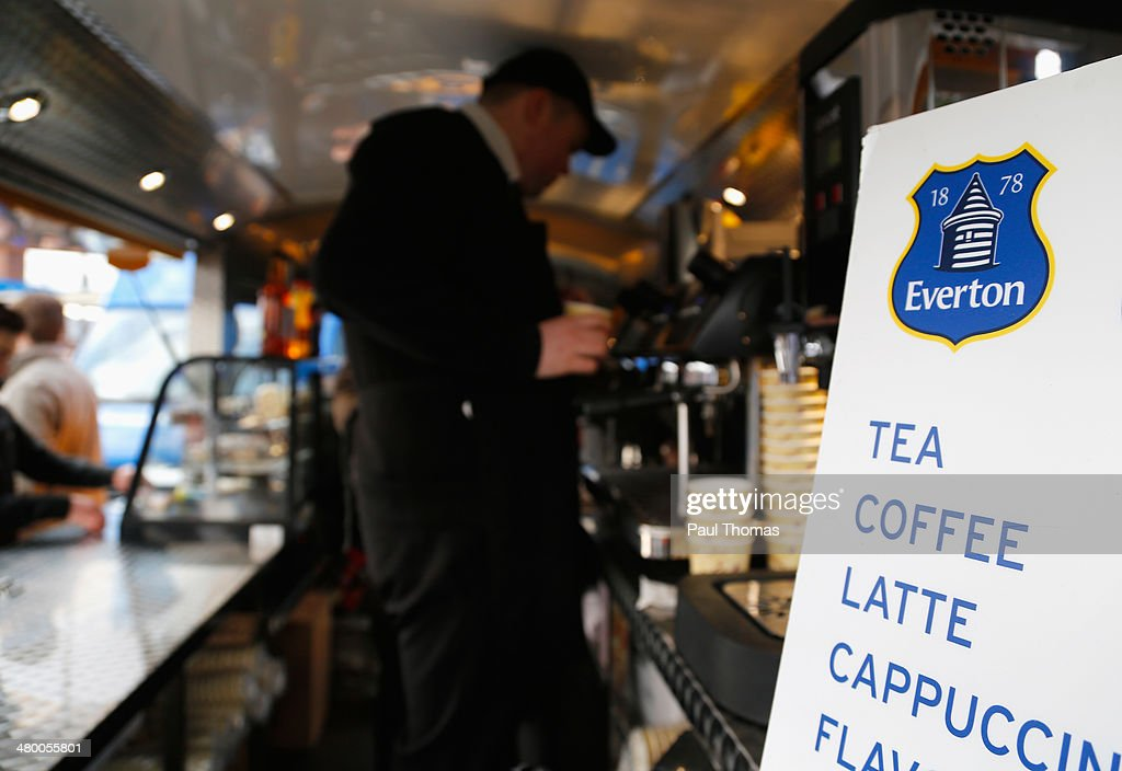 Tea and Coffee for sale on a drinks stall outside the ground prior to the Barclays Premier League match between Everton and Swansea City at Goodison Park on March 22, 2014 in Liverpool, England.