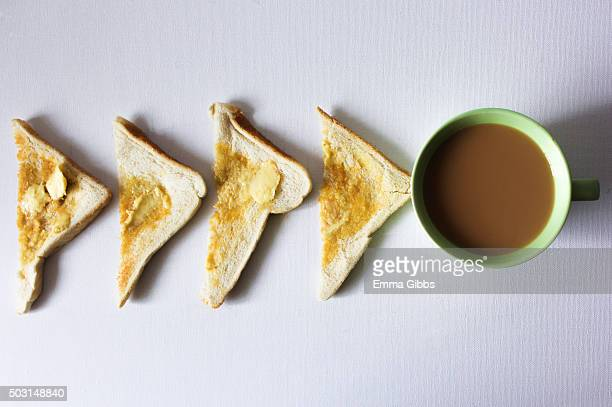 Tea and toast laid out neatly