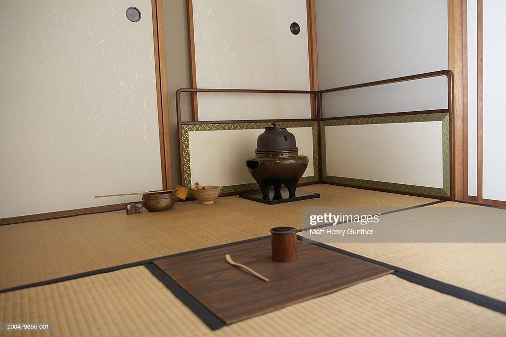 Tea ceremony arrangement on floor : Stock Photo