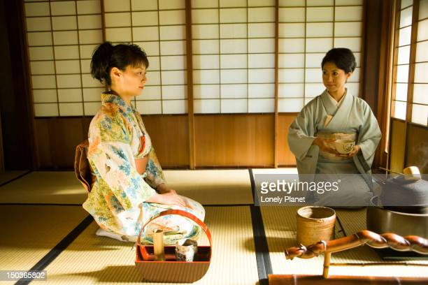 Tea ceremony at Okitsu Club Tea House in Gosho.