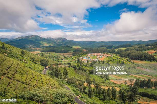 Tea estates and Small village at Emerald lake in Ooty