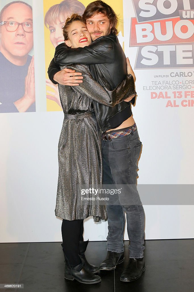 Tea Falco and Lorenzo Richelmy attend the 'Sotto Una Buona Stella' photocall at cinema Savoy on February 11, 2014 in Rome, Italy.