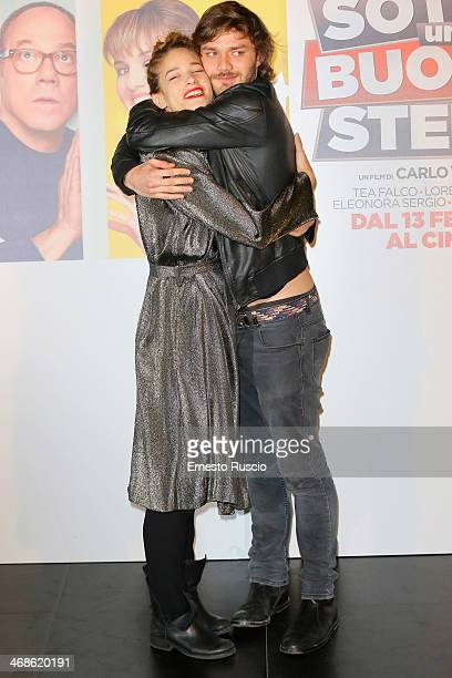 Tea Falco and Lorenzo Richelmy attend the 'Sotto Una Buona Stella' photocall at cinema Savoy on February 11 2014 in Rome Italy