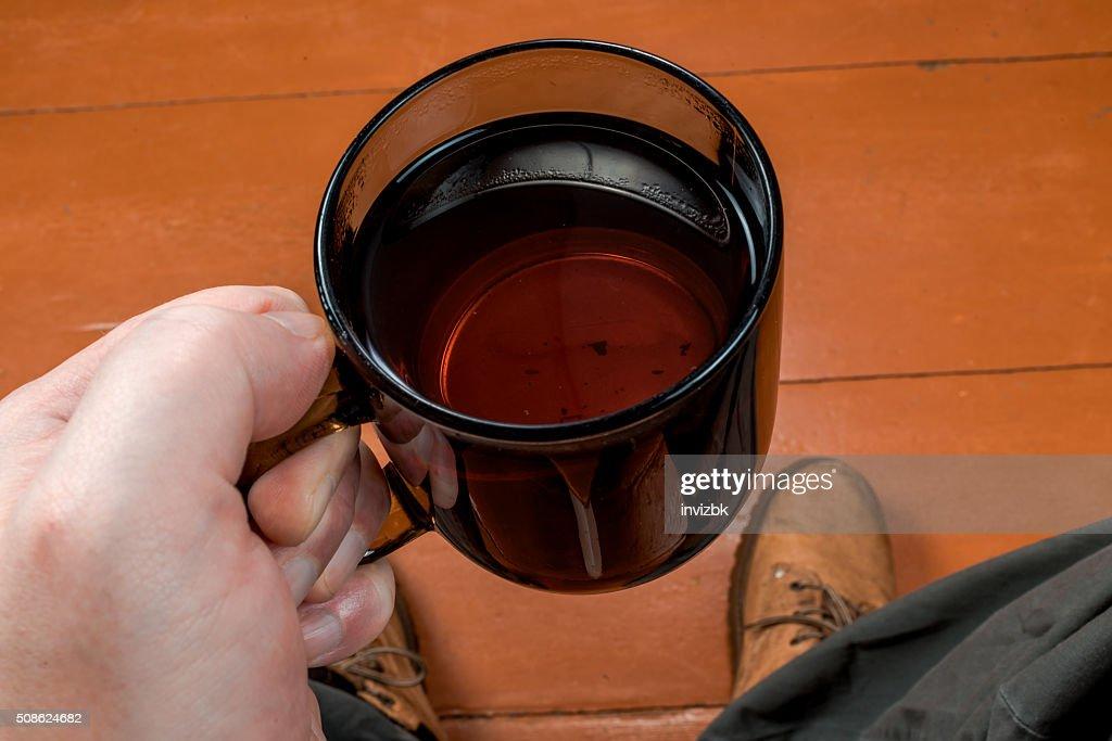 Tea for man : Stock Photo