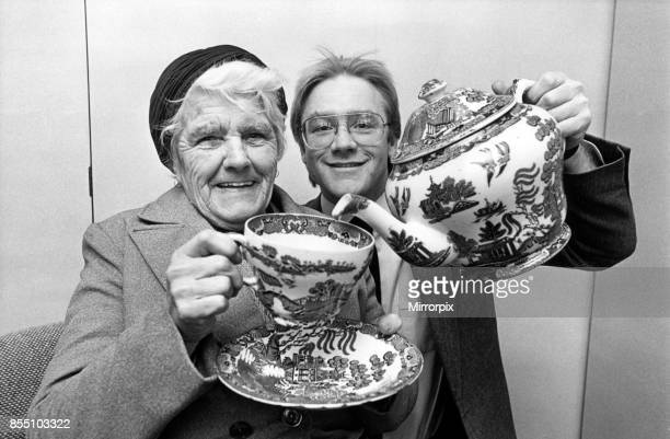 Tea for one for 80 year old Frances Littlefair Brown with a big pot of tea supplied by Simon Smith of Ringtons Ltd 28th January 1986