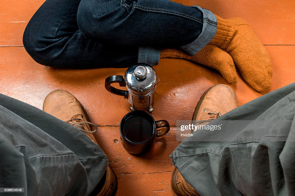 Tea for two on the floor : Stock Photo