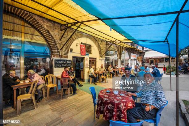 Tea house taking place in the old part of Kastamonu, customers seated, Northern Turkey