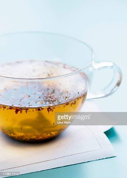 Tea in transparent teacup