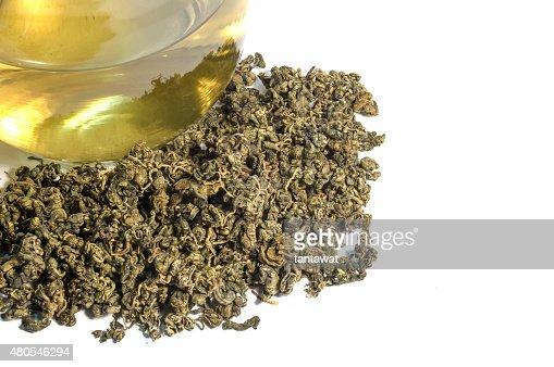 tea leaf with cup of tea : Stock Photo