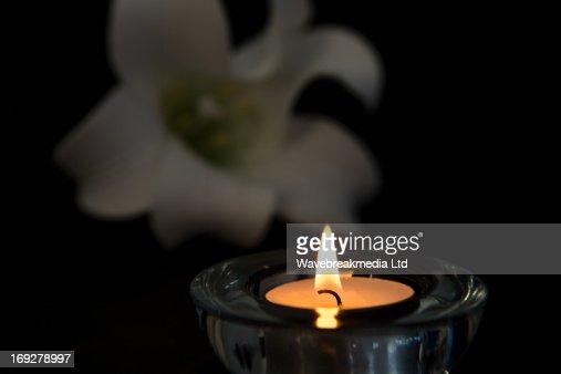 Tea light candle lighting in glass holder : Stock Photo