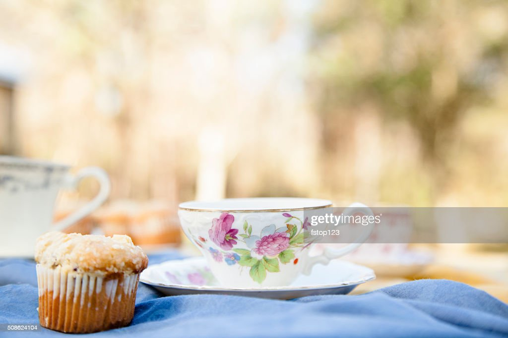 Tea, muffins with landscape background.  Breakfast. Relaxation. : Stock Photo