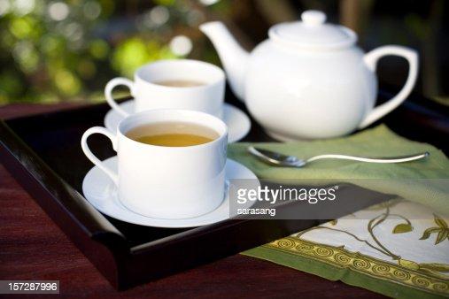 tea on mahogany tray