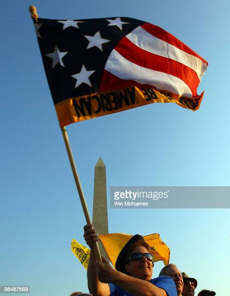 Tea Party members hold a Tax Day protest against 'big government and to support lower taxes less government and more freedom' April 15 2010 in...