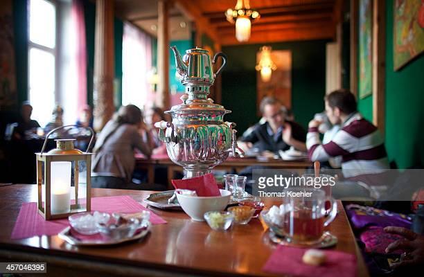 Tea pot at a Tajik tearoom on April 25 in Berlin Germany Photo by Thomas Koehler/Photothek via Getty Images