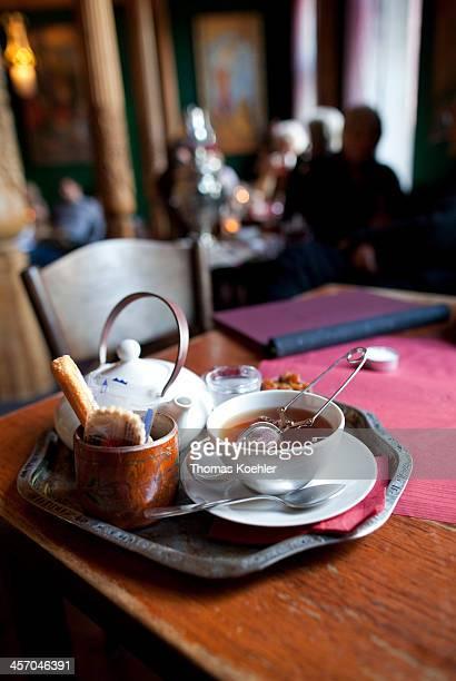 Tea set at a Tajik tearoom on April 25 in Berlin Germany Photo by Thomas Koehler/Photothek via Getty Images