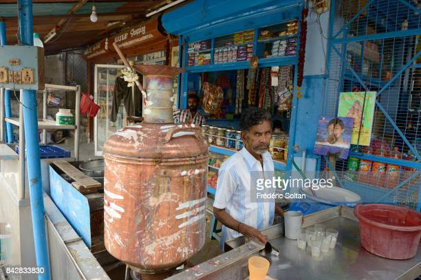 Tea shop and daily life in Chidambaram Tamil Nadu on January 22 2017 in India