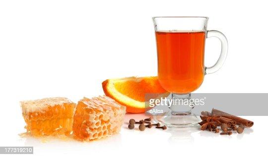 Tea, spice, orange and honey : Stock Photo