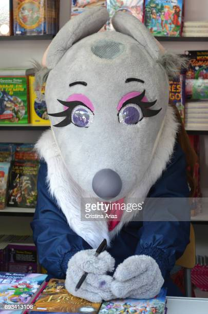 Tea Stilton the children's story character created by italian writer Elisabetta Dami attends Book Fair 2017 at El Retiro Park on June 3 2017 in...