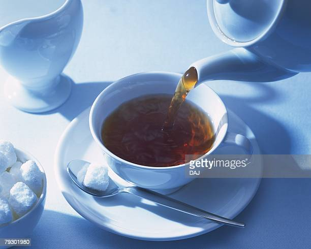Tea That is Poured and Sugar, High Angle View, Full Frame