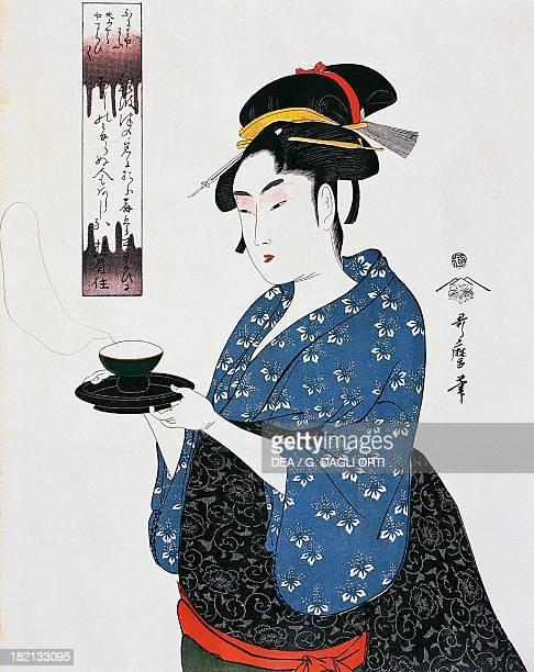 Tea time Ukiyoe woodcut by Kitagawa Utamaro Edo period Japan 19th century Paris Bibliothèque Des Arts Decoratifs