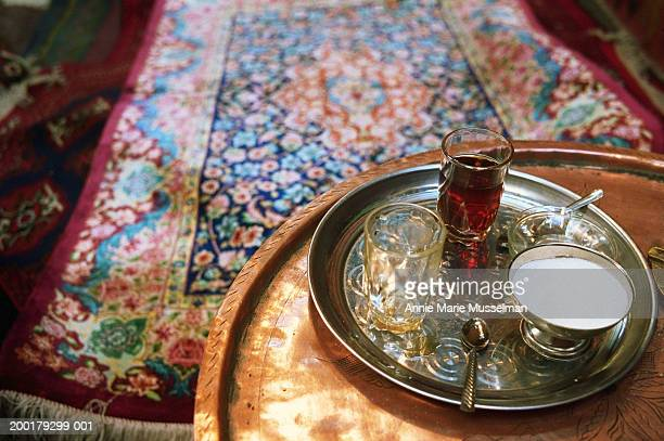 Tea tray with sugar on table, elevated view