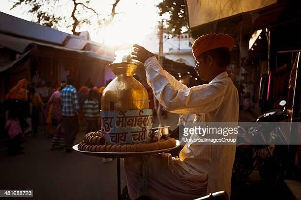 Tea vendor in a market Pushkar Ajmer Rajasthan India