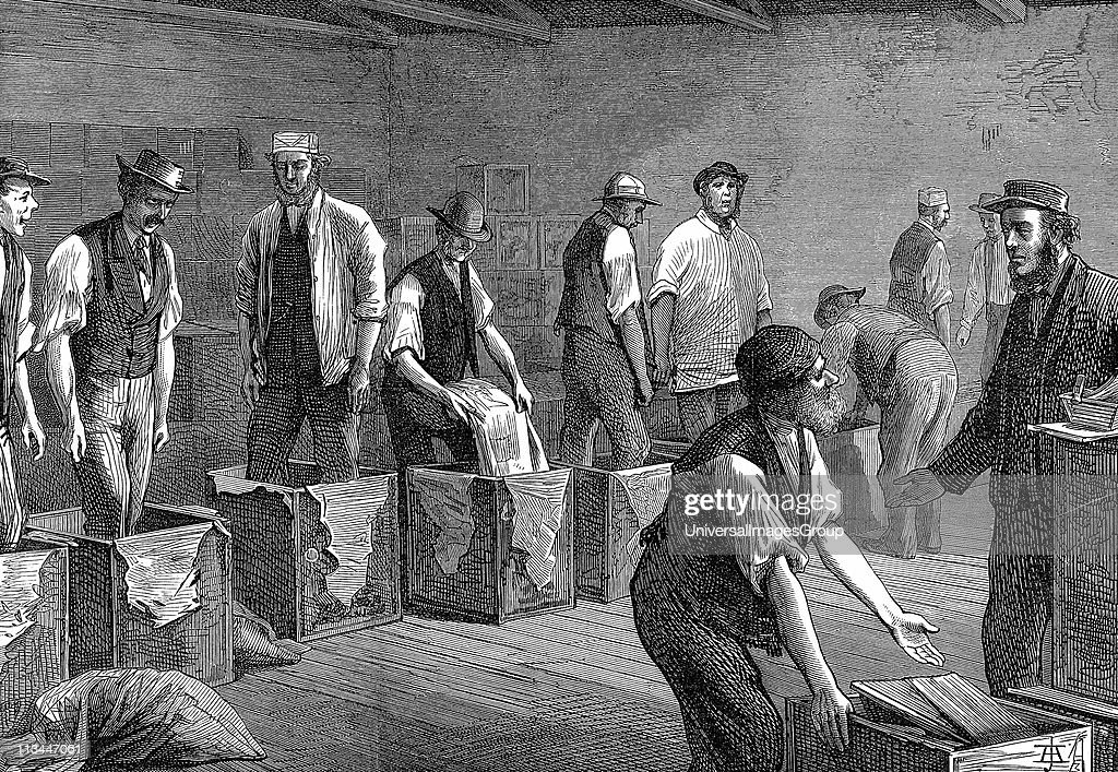 Tea warehouses of the East West India Dock Company London Refilling tea chests after bulking Wood engraving 1874