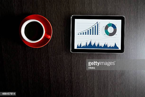Tea with business graph on digital tablet