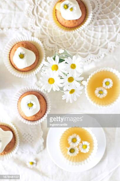 Tea with daisy cupcakes