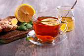 Tea with ginger root, lemon and honey,