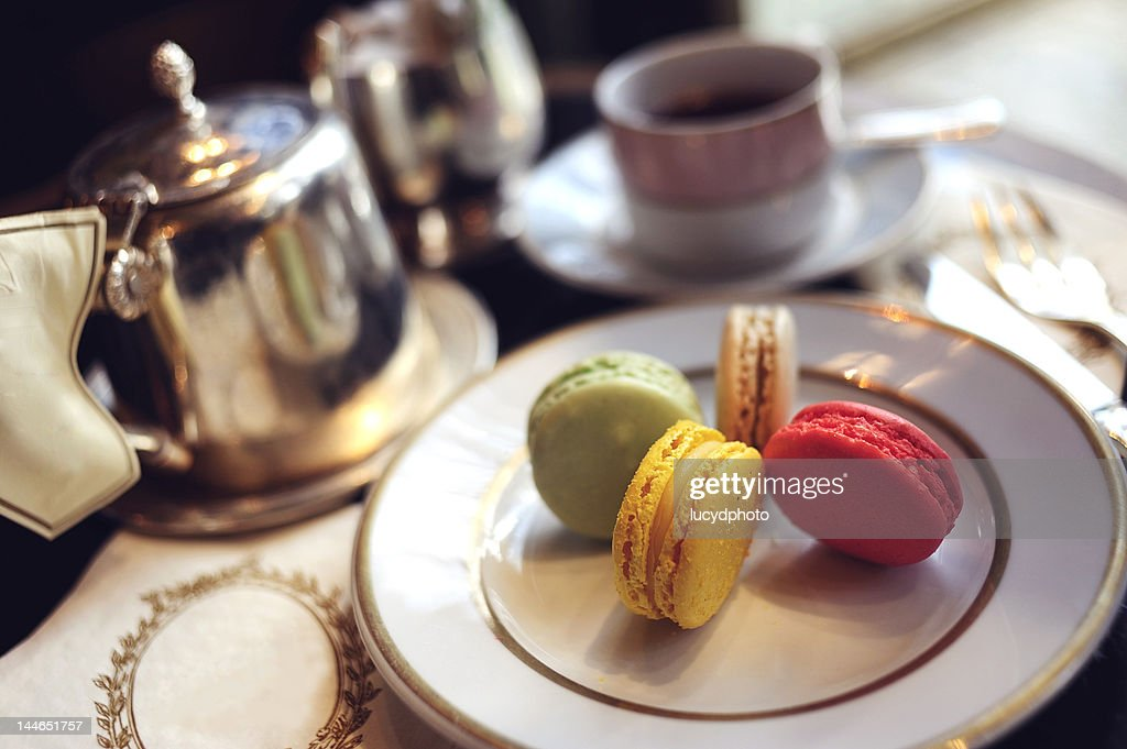 Tea with macarons : Stock Photo
