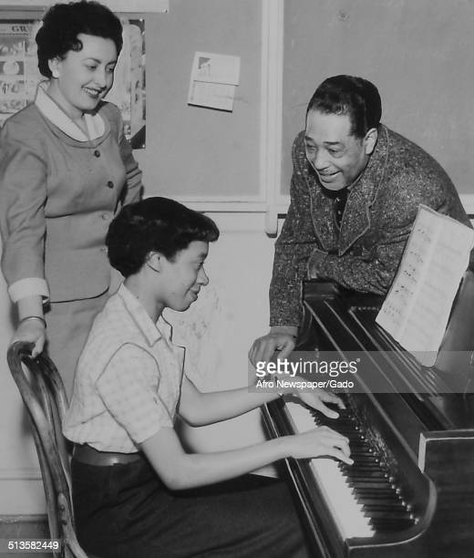 A teacher AfricanAmerican composer pianist bandleader and Jazz musician Duke Ellington and Ann Rhoden at Bennett College Greensboro North Carolina...