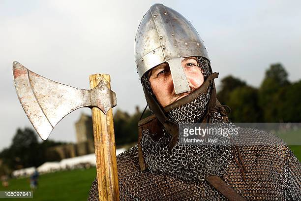 Teacher and historical enthusiast Ken Kinrade who played the part of King Harold in a reenactment of the 1066 AD Battle of Hastings on October 9 2010...