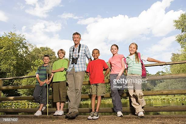 教師と pupils で自然保護区