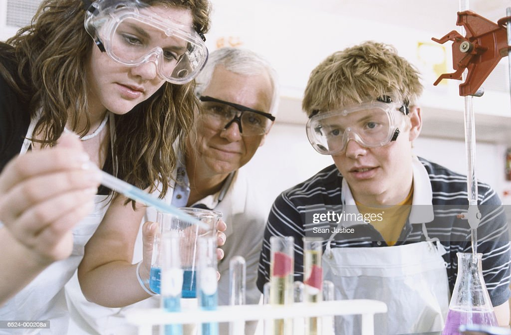 Teacher and Students in Lab : Stock Photo
