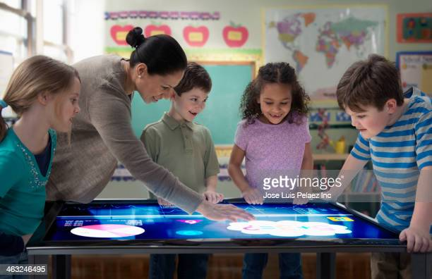 Teacher and students using digital tablet