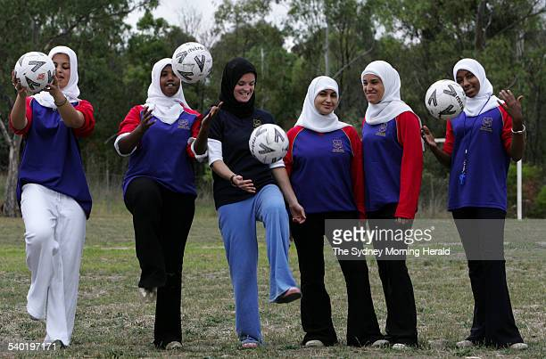 PE teacher Clare Baldwin practises soccer skills with students from East Preston Islamic College after she won an Australian Sports Commission grant...