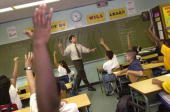 Teacher David Nieder of 'Knowledge is Power Program' Academy takes questions from his class October 4 2000 in The Bronx New York The Knowledge Is...