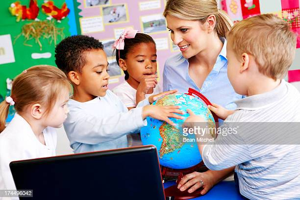 Teacher explaining the world to students
