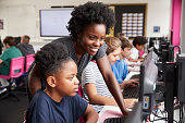 Teacher Helping Female Pupil Line Of High School Students Working at Screens In Computer Class