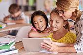 Teacher helping pupils with digital tablet