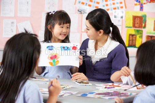 Teacher Helping Students During Art Class In Chinese ...