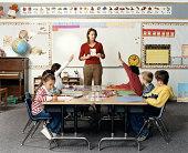 Teacher holding flashcard in front of children (5-7)