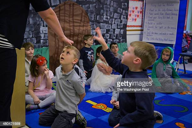 Teacher Maggie Gearing recognizes kindergartener Carter Murray at Golden Pond School on Friday February 28 in Ashburn VA Kindergartener Carter Murray...