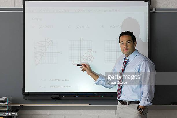 A teacher pointing at a projector screen