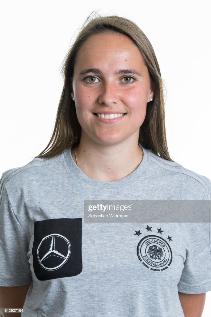 Teacher Selina Duerr poses during the Germany U17 team presentation on September 5, 2017 in Haarbach, Germany.