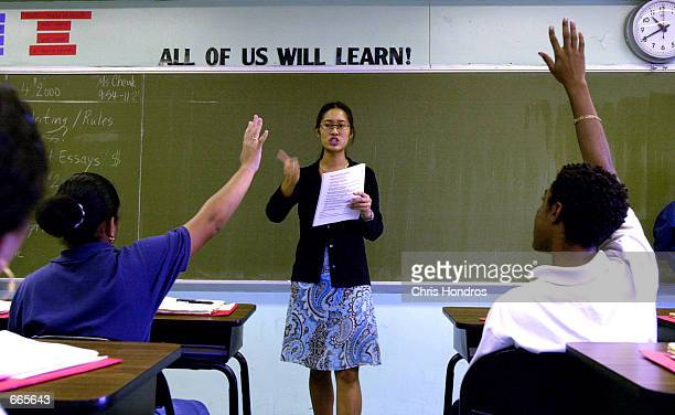 Teacher Tina Cheuk of 'Knowledge is Power Program' Academy takes questions from her class October 4 2000 in The Bronx New York The Knowledge Is Power...